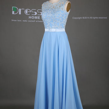 2015 Lace Long Prom Dress/Lace Bridesmaid Dress/Blue Long Chiffon Bridesmaid Dress/Wedding Party Dress/Beach Wedding Bridesmaid Dress DH314