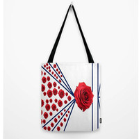 "Roses Please! Tote Bag (13"" X 13"", 16"" X 16"", 18"" X 18""),Original,Designer,Red,White,Blue,Stripes,Beach Bag,Shopping Bag,Gym Bag,Chic"