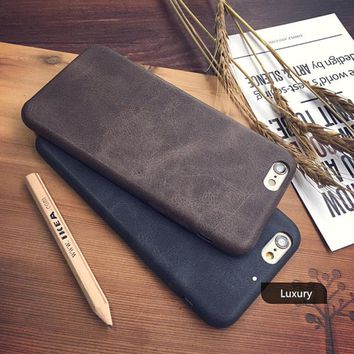 Original Classic Vintage PU Leather Case for iphone 7 6 6S 8 Plus X XS luxury Thin Slim Soft Phone Back Cover for iphone8 8Plus