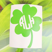 Green Four Leaf Clover Monogram Decal - Monogram Decal - Four Leaf Clover - Laptop Decal - Car Decal - Irish Decal - Lucky Decal -  Lucky