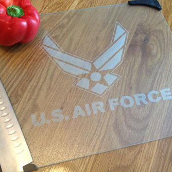 Etched AIR FORCE Glass Cutting Board