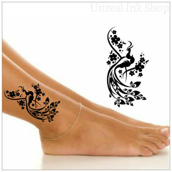 Peacock Temporary Tattoo 1 Ankle Tattoos