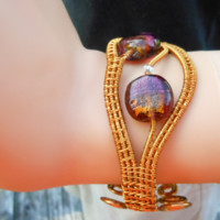 Wire Weave Cuff Bracelet with Honey and Purple Beads