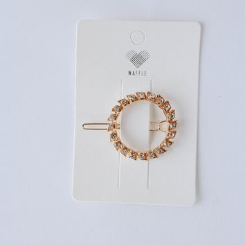 Gold Circle Diamond Hair Clip