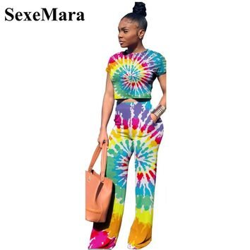 Tie Dye Print Sexy Two Piece Set Crop Top and Wide Leg Pants Casual Matching Sets Fall Women Outfits Plus Size D52-AF78