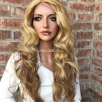 Blond Ombre' Hair Swiss Lace Front Wig - Ashland