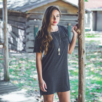 Casual T-Shirt Dress in Charcoal