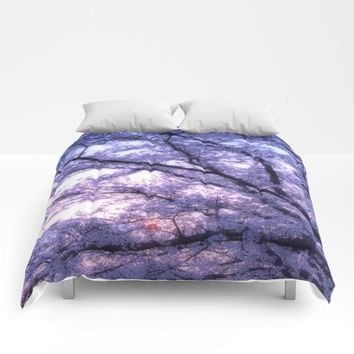 Periwinkle Lavender Flower Tree Comforters by WhimsyRomance&Fun