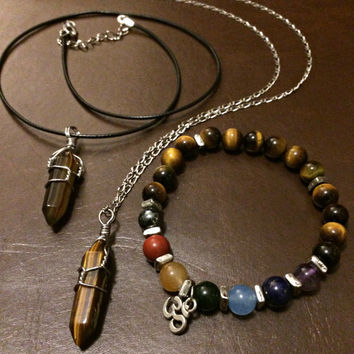 Tigers Eye Necklace Bracelet Bundle- Heal Crystal Point Necklace Hippie Bohemian Jewelry 7 Chakra Boho Stone Jewelry Unisex