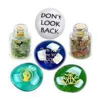 Dont Look Back Self Esteem MotivatiInspirational Amulets Glass Stones Moss Agate Jasper Bottles Set