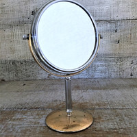 Mirror Vintage Brass and Chrome Vanity Hollywood Regency Shaving Mirror Magnifier Tilting Mirror Mid Century Vanity Mirror Stand