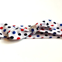 Patriotic Top Knot Headband Adult or Child Tie Headband Summer Polka Dot Turban Fourth of July Headband USA Headwrap Fashion Accessories