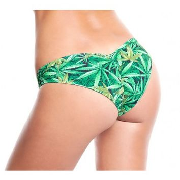 420 Booty Shorts | Marijuana Leaf Bottoms | Weed leaf Print Rave Bikini