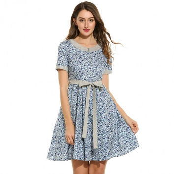 Women Casual Short Sleeve Floral Print O Neck Vintage Style Swing Dress