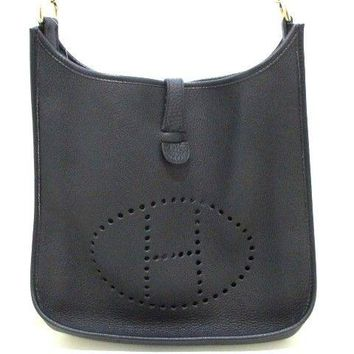Auth HERMES Evelyne GM Black Taurillon Clemence Square G Shoulder Bag