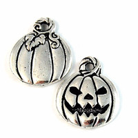 TierraCast Antique Silver (plated) Jack O'Lantern Halloween Charm