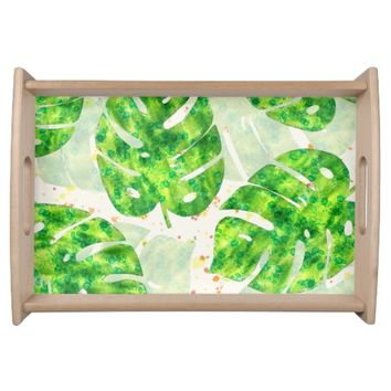 Tropical Monstera Leaves Unique Pattern Serving Tray