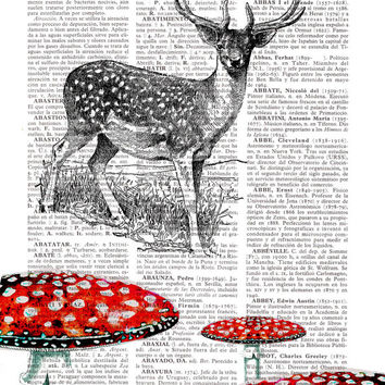 Deer Print on Vintage Dictionary Book - Altered art on upcycled book pages Deer with Mushrooms BPAN045