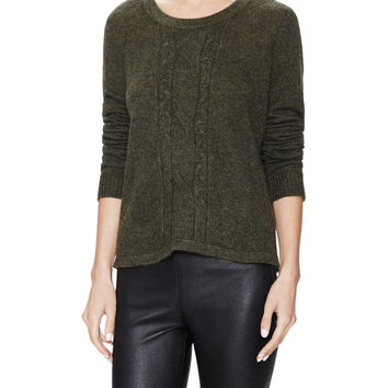Qi Cashmere Women's Cashmere Cable Crewneck Sweater - Green -
