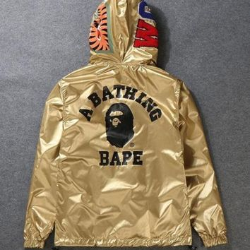 SPBEST Bape Two-Wear Jacket Gold and reversable black Hoodie Windbreaker