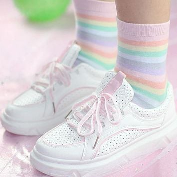 Fashion Rainbow Stripe Macaron Girls Socks Harajuku Punk Women Socks Pink