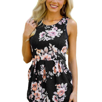 Black Floral Sleeveless Short Dress LAVELIQ