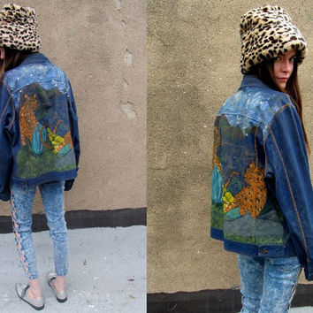 Denim Studded Hand Painted Leopard Jungle Crazy Jacket