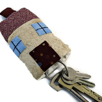 House shaped fabric key chain. Patchwork house key chain.