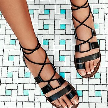 faryl robin + Free People Womens Vegan Maddie Tie Up Sandal