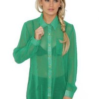 Green Top - Jade Barbie Shirt | UsTrendy