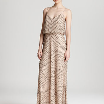 Adrianna Papell Art Deco Beaded Blouson Gown - Taupe/ Pink
