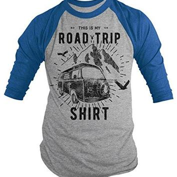 Men's Hipster Road Trip T-Shirt Mountains Adventure Camping Shirt Raglan
