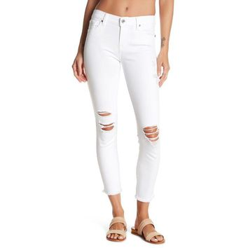 7 For All Mankind White Gwenevere Frayed Hem Destroyed Ankle Jeans Size 31