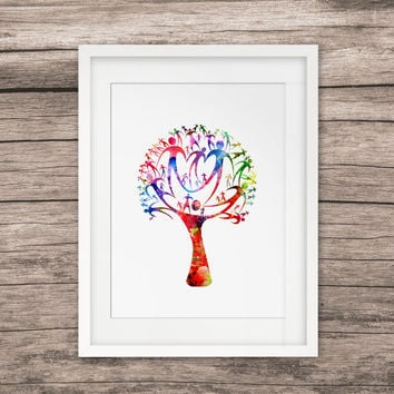 Watercolor Family Tree Art Print Painting Wall Watercolor Paint Colorful Life Picture