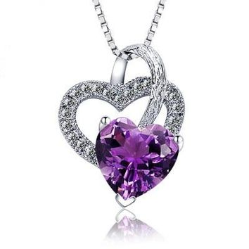 925 Silver Forever Love Three Heart Superposition Romantic Purple Cubic Zirconia Pendant Necklaces for Valentine's Day Gift