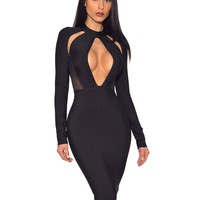 Black Keyhole Cut Out Long Sleeve Bandage Dress