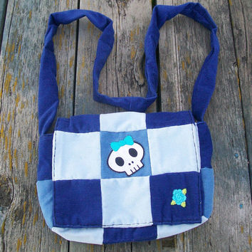 Blues Recycled Corduroy Crossbody Purse Skull Patch Long Strap