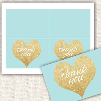 Baby shower thank you cards gold and blue boy baby shower thank you cards gold hearts thank you cards digital file instant download diy