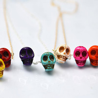 Carved Skeleton Skull Turquoise Necklace - Multicolor: red, yellow, orange, aqua, purple, green, pink - Halloween necklace