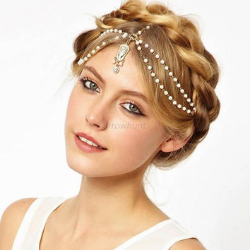 Boho Women Pearl Gold Wedding Headdress