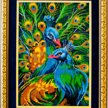Peacocks art, Embroidered wall art, Beaded embroidery picture, Peacock wall decor, Blue, Green, Gold, Peafowl, Birds couple, FREE Shipping