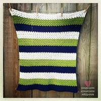 Crochet Seahawks Inspired Baby Blanket~Ready to ship~FREE SHIPPING
