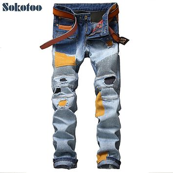 Sokotoo Men's casual patches holes ripped biker jeans for moto Fashion pleated patchwork slim straight denim pants Long trousers