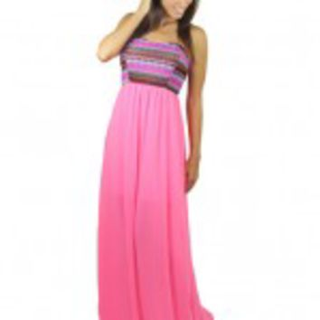 Neon Pink Embroidered Maxi Dress
