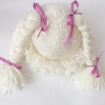 Cabbage Patch Kid Hat Inspired Crochet Wig, Choose your color and size Braid Pigtail Style