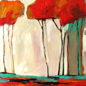 Tall Autumn Trees- Abstract, Huge Contemporary Acrylic on a Extra Large Canvas Commissioned Painting by Patty Baker