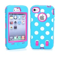 MagicSky Plastic Silicone Hybrid Colorful Polka Dot Paint Case for Apple iPhone 4 4S 4G - 1 Pack - Retail Packaging - Hot Pink/Blue
