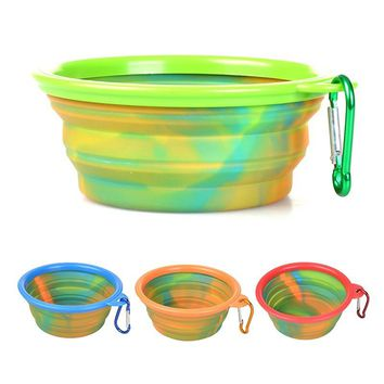 Pet Dog Camouflage Silicone Folding Bowls Portable Food Drinking Water Outdoor Bowls Healthy Pet Product