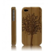 Best Handmade Carved Bamboo iPhone 4 & 4s Cases- A Big Tree-dark