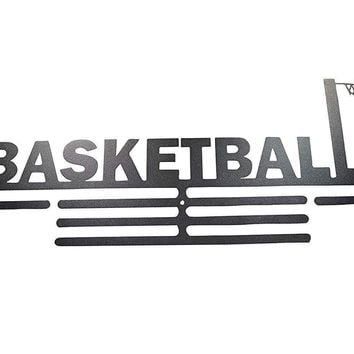 OFG Medal Hanger for Displaying and Hanging Ribbons on a Rack Out of Black Powder Coat Steel (Basketball, Black)